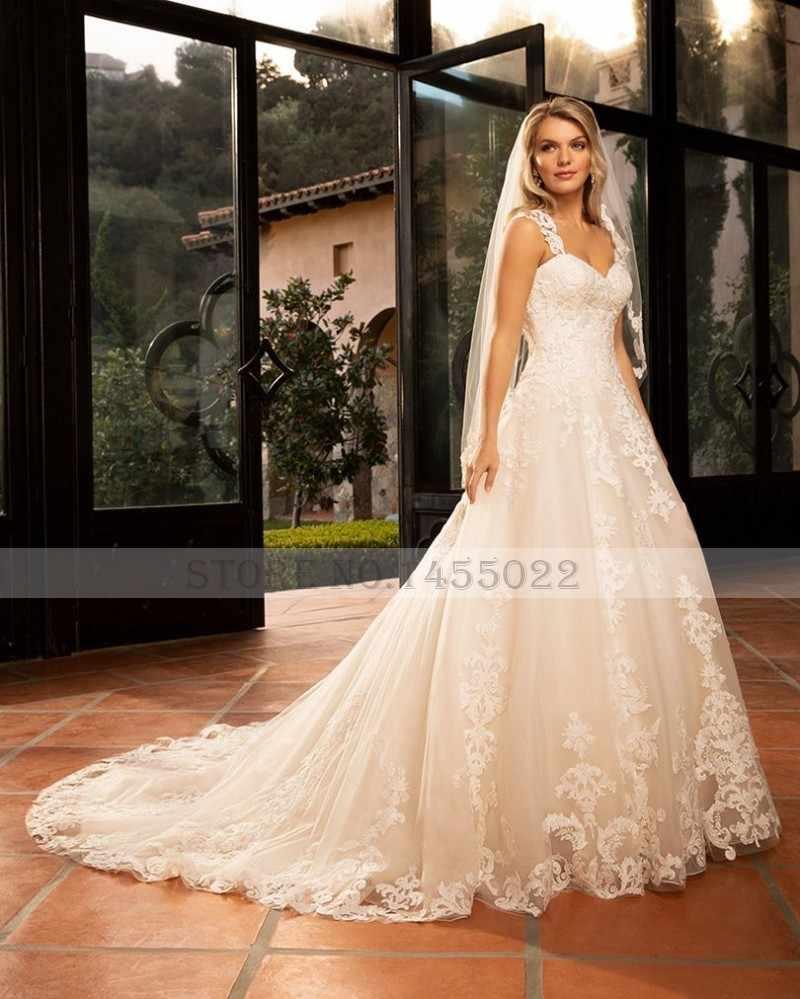 Eightale שמלות כלה עם נתיק רצועות מתוקה אפליקציות תחרת חתונת כותנות רכבת כלה שמלה 2019 vestido novia