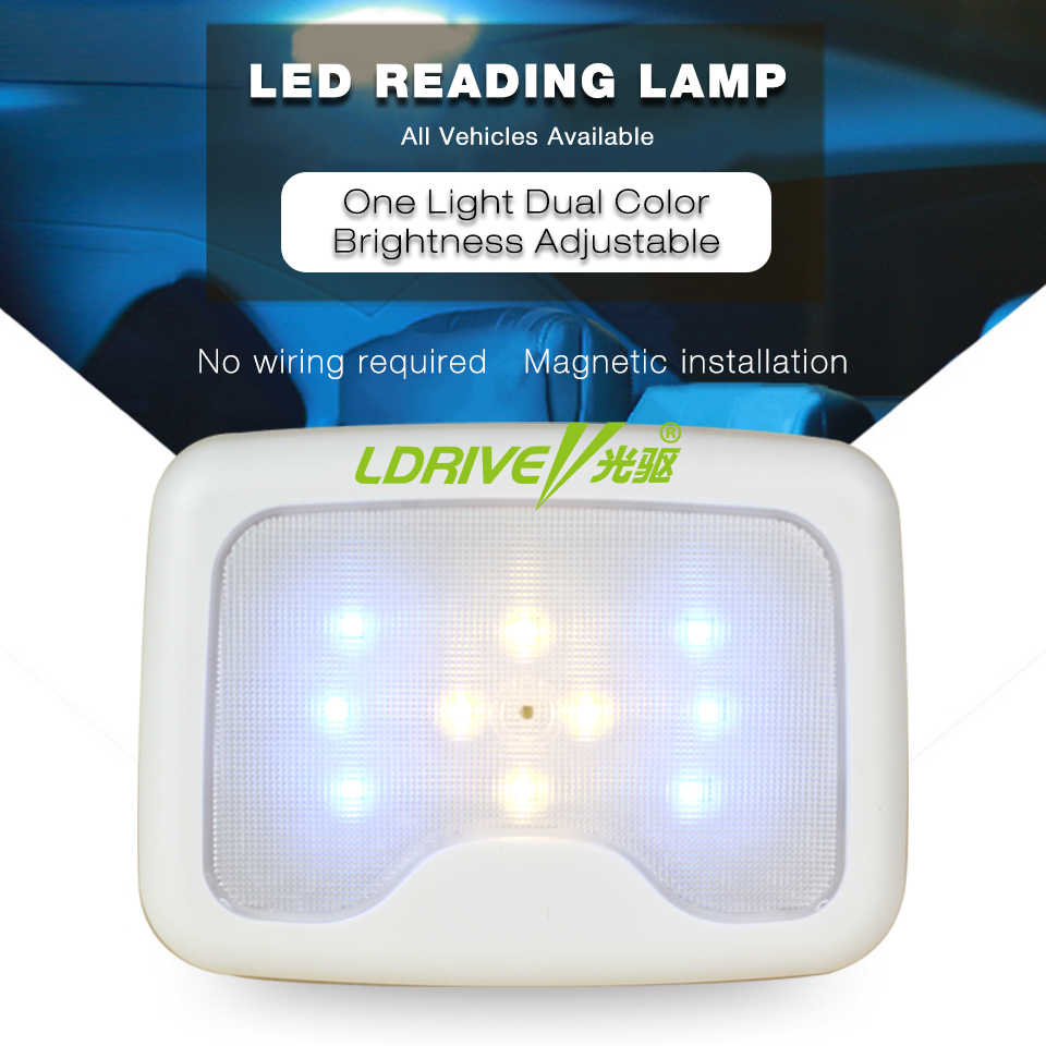 Pressing 2 Colors Car Rear Row LED Reading Light Portable Book Lamp Roof LED Bulb White Light Indoor Ceiling Lamp Car Roof Trunk