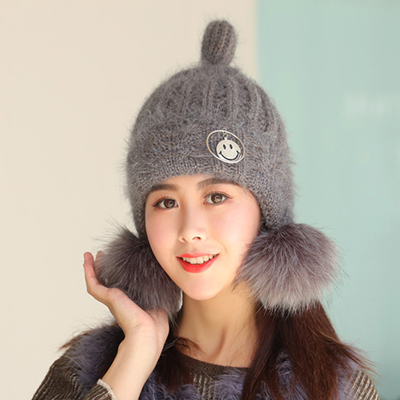 89111a841be 2018 New Knitted Woolen Women s Hats Fashion Pompom Hairball Warm Ear A Cap  Nipple Type Winter Student Mask Of The Skull -in Skullies   Beanies from  Apparel ...