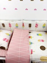 7Pc Crib Infant Room Kids Baby Bedroom Set Nursery Bedding  Black Bear Pink Ice cream Cot bedding set for newborn baby girls