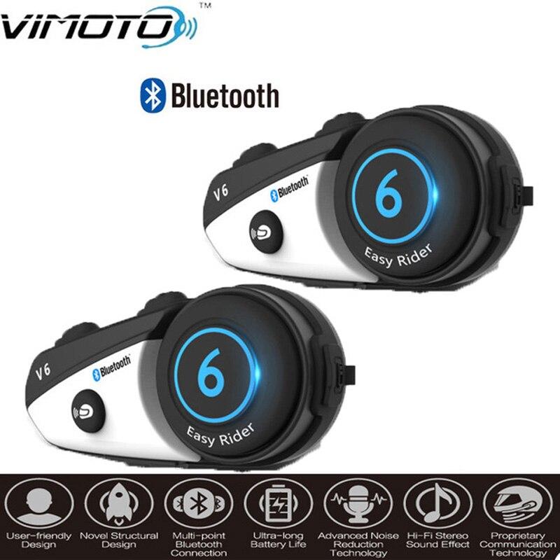 Vimoto marka angielska wersja 2 sztuk V6 motocykl zestaw słuchawkowy Bluetooth do kasku domofon bezprzewodowy Intercomunicador BT Interphone