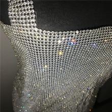 Women Sexy Metal Chain Rhinestone Crystal Diamond Strap Dress Backless Split Rave Dresses Nightclub Party  Dress