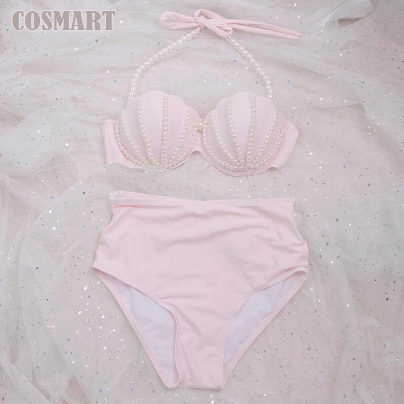 [STOCK] NEW Cute Swimsuit Mermaid Bikini swimwear Pink Shell Bra Pearl Decoration Summer Lolita Sweet Cloth free ship