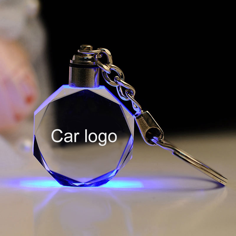Laser Engraved Crystal Car Logo Key chain LED Light Wall Hanging Rings Souvenir Man Gift Styling Chaveiros Llavero Personalized (China)