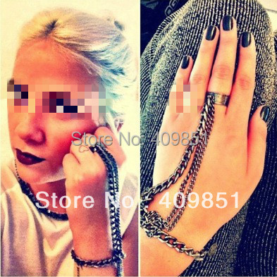 Punk Gold Silber Ketten Hand Harness Armband Armreif Emo Einfache Großhandel Erklärung KOSTENLOSER VERSAND Mode Jewlery Neue