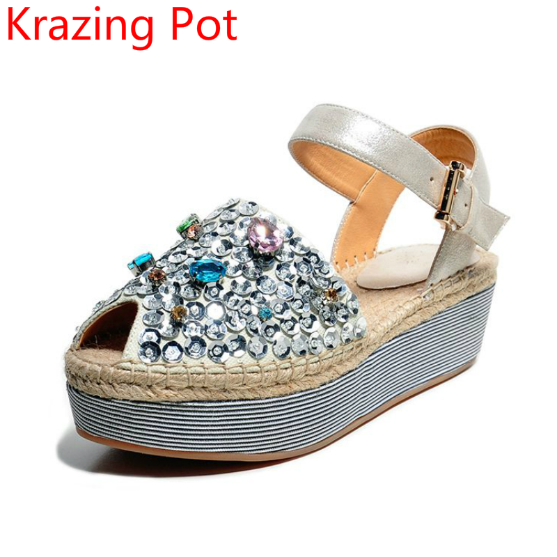 2017 Fashion Peep Toe Increased Ankle Strap Diamond Crystal Bling Women Sandals Gradiator Med Heels Wedges Slingback Shoes L  2017 superstar cow leather platform european ankle strap peep toe print mixed colors classic women increased runway sandals 0 4