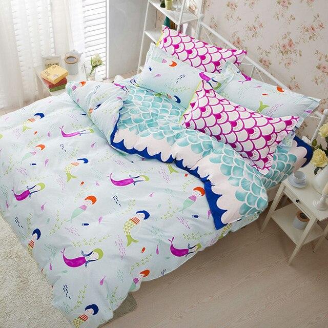 Сьюки розовый постельные принадлежности наборы для девочек милые Русалка и весы печатным рисунком Утешитель постельное белье наволочки Синий