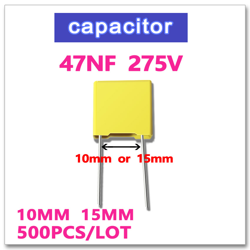 47NF 500PCS safety X2 275VAC Pitch 10mm 15mm 0.047UF 473 10% K 275V 100 pcs lot cbb capacitor 630 v473 473 k 473 v 47 nf feet from 10 mm cbb22 film capacitor