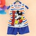 2017 verano ropa de Los Niños de Mickey Del Bebé muchachos que arropan el sistema niños chaleco + pantalones ropa de los niños undershirt 2 unids sport boys ropa fijada