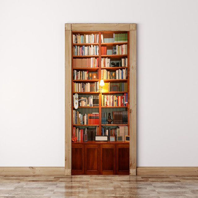 3D Bookcase Wall Door Stickers DIY Home Decor Refurbished Sticker Strange Things Waterproof Adhesive Bricolage Wallstickers & 3D Bookcase Wall Door Stickers DIY Home Decor Refurbished Sticker ...