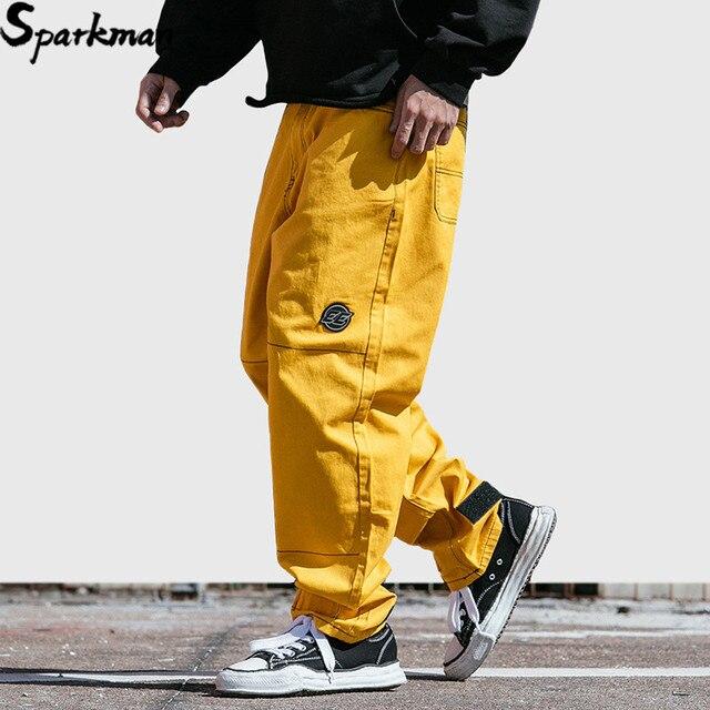 Hip Hip Pant Streetwear Men Harajuku Cargo Pant Denim Baggy Joggers Pant 2019 Sring Hipster Long Trousers Yellow Street Wear