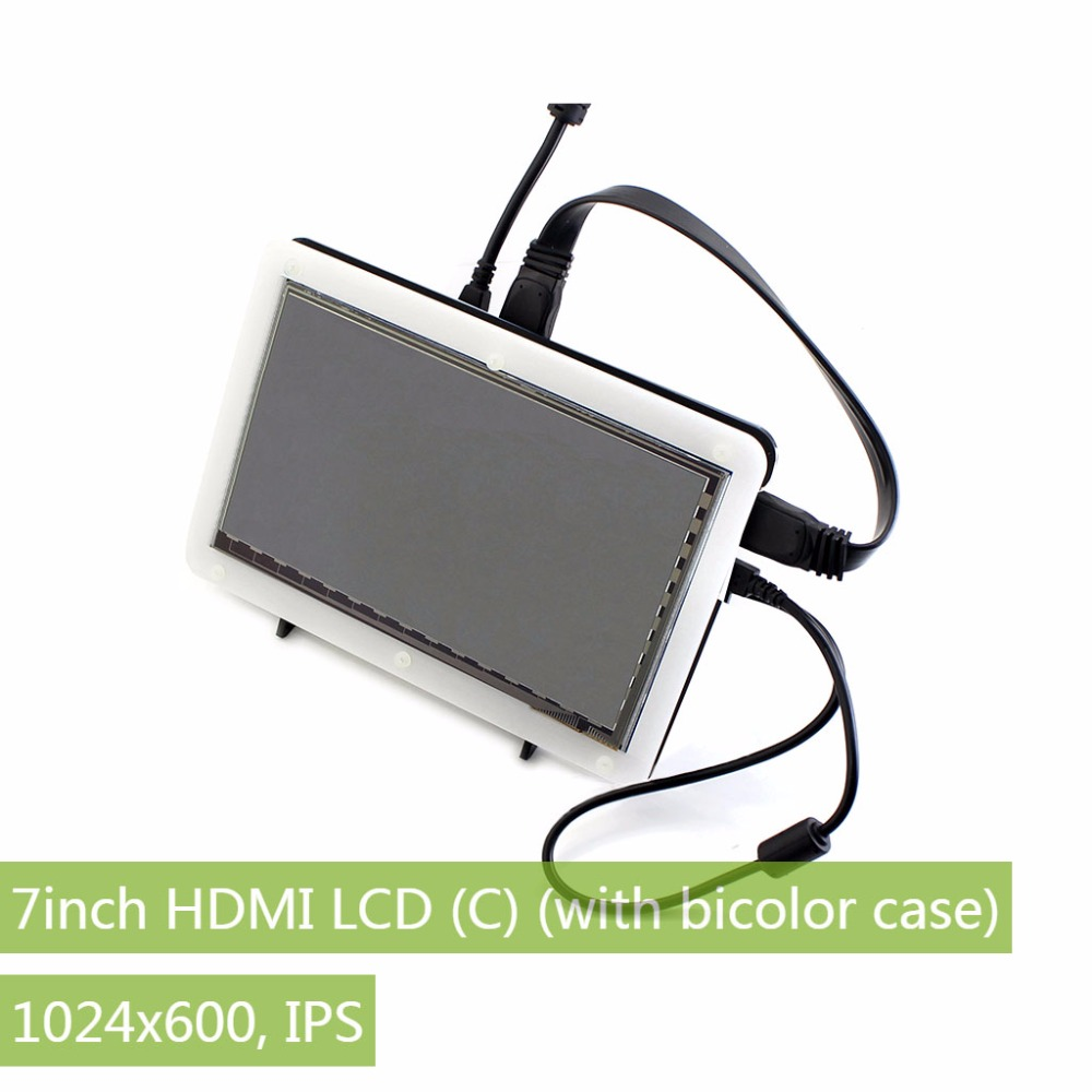 7inch HDMI LCD Rev2.1,with bicolor case,1024*600 Capacitive Touch Screen ,for Raspberry Pi B 2/3 & Banana Pi,Windows 10/8.1/8/7