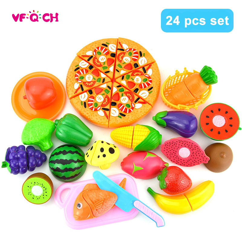 24Pcs Vegetable Fruit Cutting Toys Pizza Miniature Food Plastic Pretend Play Kids Kitchen Set Toys for Children Girls BS16