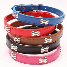 PU Leather Dog Collar Design Bone Charm Studded Collars For Small Medium Large Dogs Necklace Pet