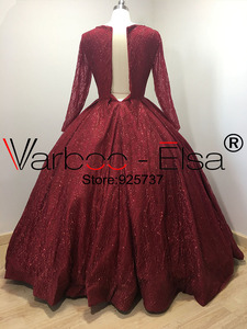 Image 3 - VARBOO_ELSA Bling Bling Red Sequin Evening Dresses 2018 Real Photo Long Evening Dresses V neck Ball Gown Party Dress Custom Made