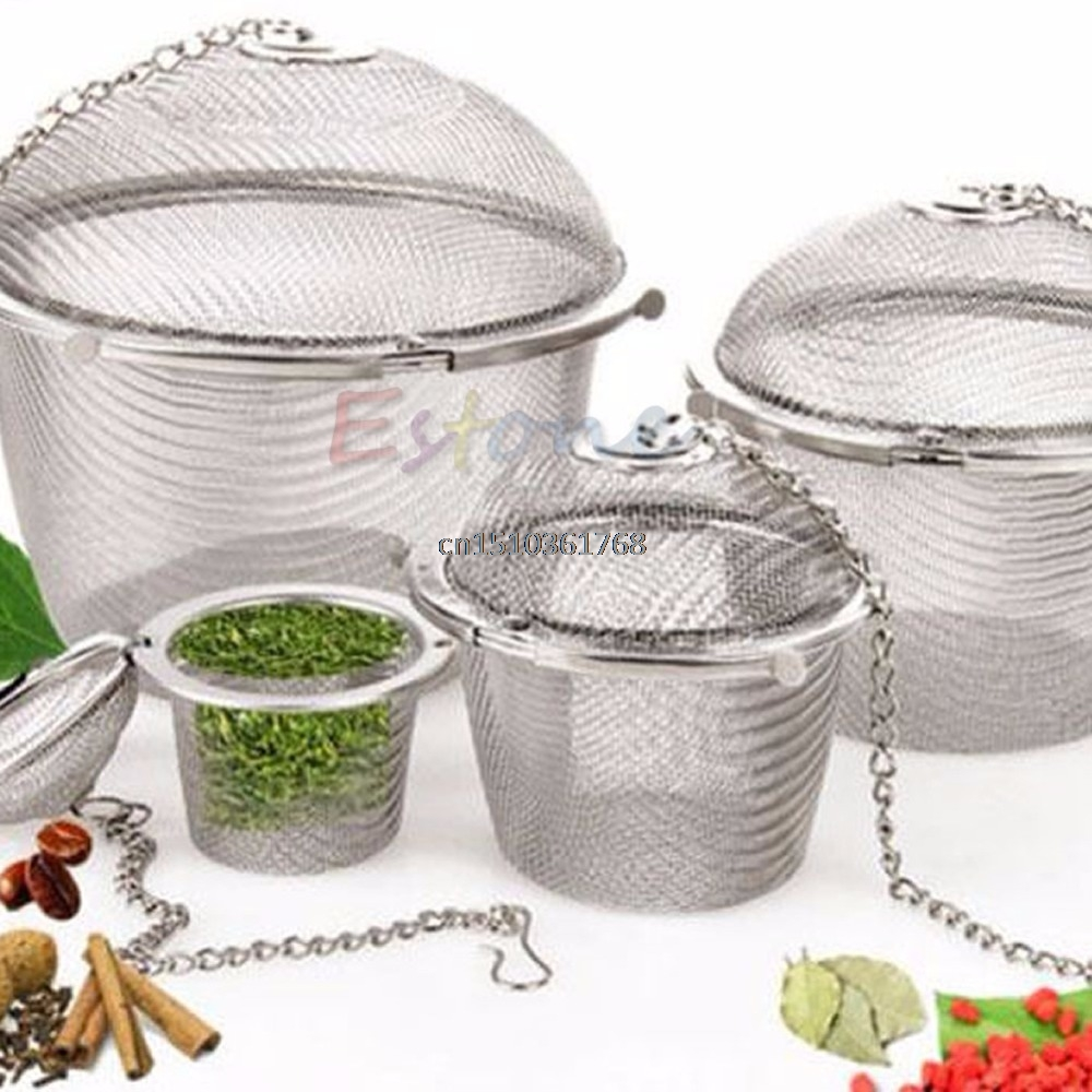 1pc Practical Stainless Steel Tea Ball Spice Strainer Mesh Infuser Filter Herbal #Y05# #C05# duck style stainless steel tea leaf infuser filter tool w stand silver