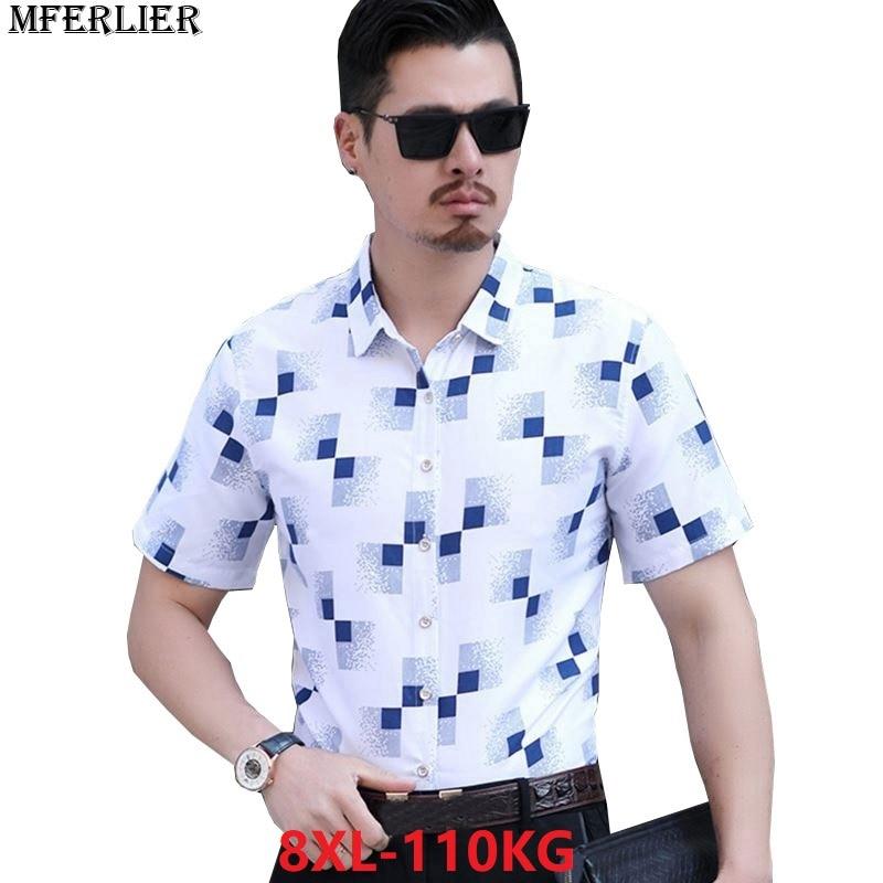 7d010d65225 MFERLIER summer men short sleeve shirts plaid 8XL larger plus size big 6XL  7XL smart casual Dress shirts business home work blue