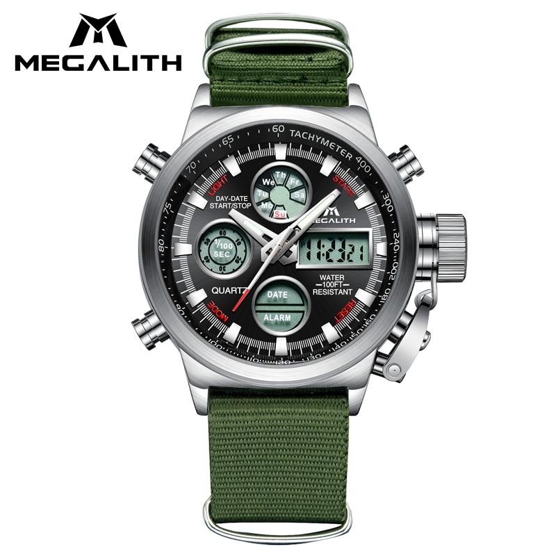 MEGALITH LED Digital Sports Watch Men Army Green Nylon Strap Men's Watch Waterproof Chronograph Alarm Watches For Men Erkek Saat