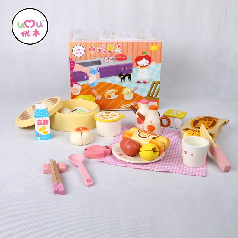 ФОТО [Umu] Chinese Style-Breakfast Time Wooden Toys For Children Kitchen Cooking Utensils Cutlery Sets Play House Toys New Arrive