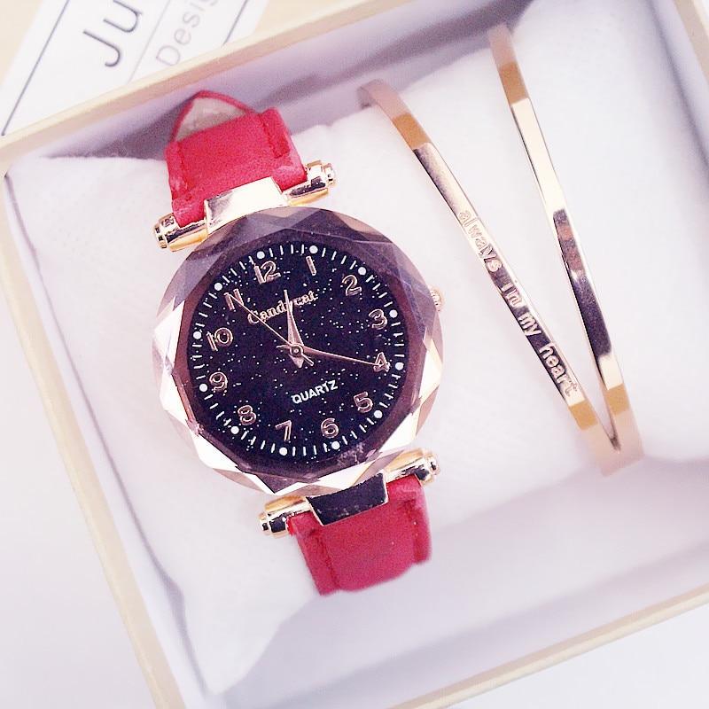 Women Fashion Watches Hot Sale Cheap Starry Sky Ladies Bracelet Watch Casual Leather Quartz Wristwatches Clock