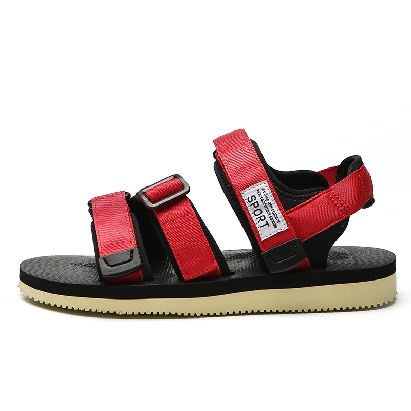 39 New Taille Toile 44 Casual Rouge Crochet Mâles La Pour Summer Plage Hommes Red De Sandales Des Chaussures Black Noir d190m Et Boucle D190m tUwCxAqZS