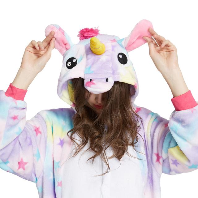Flannel Adult Animal pijama Unicorn pajamas for women Unisex Homewear  Totoro Pikachu Soft comfortable Sleepwear Hooded Onsie