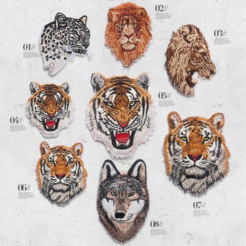 8 Disegni Simpatici Animali Tigre Leopardo Lupo Leone Patch Ricamato