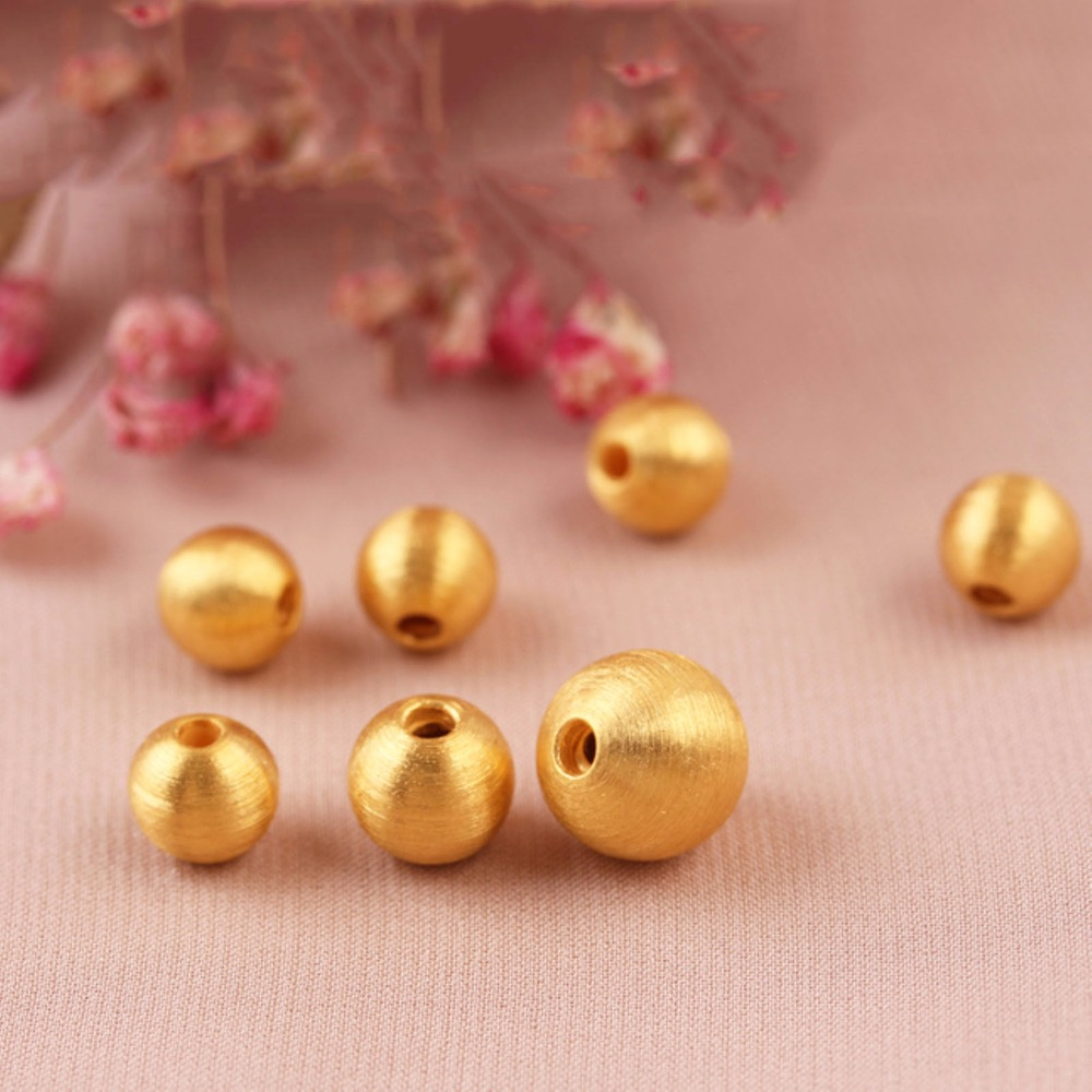 3D Pure 999 24K Yellow Gold Lucky 10mm Brushed Bead Pendant 1pcs 0.95 pure 999 yellow gold lucky 3d yuanbao chook bead pendant 1 17g