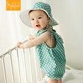 2016 verano nuevo coreano niños clothing infant algodón punto de la onda de ropa siameses bebé triángulo ropa que sube del mameluco + sombreros