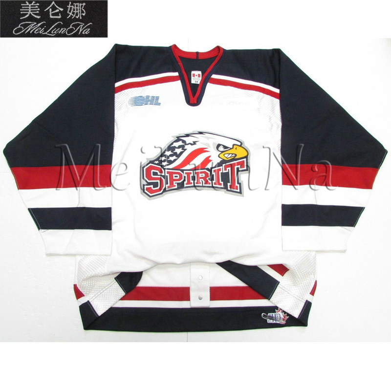 MeiLunNa Customize OHL Saginaw Spirit Jerseys Brandon Saad Vincent Trocheck Home Road White Blue Red Sewn On Any Name NO. Size