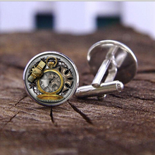 fashion handmade Cufflink Vintage Animals Owl Clock Watch Glass Cabochon Steampunk Art Picture High Quality Cufflink jewelry