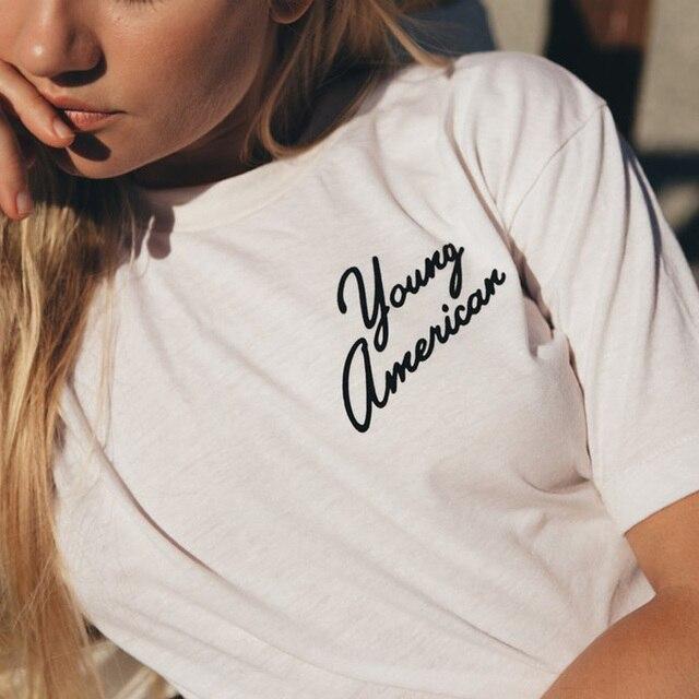 Модные футболки женские Лето 2017 г. топы Короткий рукав o-образным вырезом белая футболка женская молодой Американский письмо печати Футболка Femme