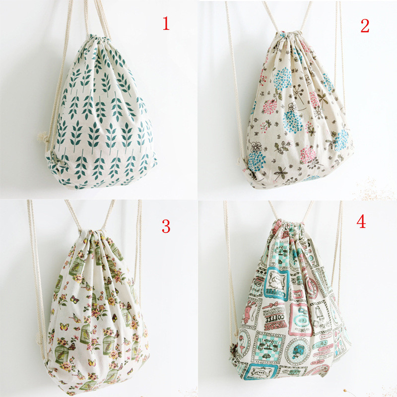 draw ears of wheat - YILE Brand New Cotton Linen Draw String Backpack Travelling Shoes Storage Bag Printed Wheat ears  Dandelion Bird