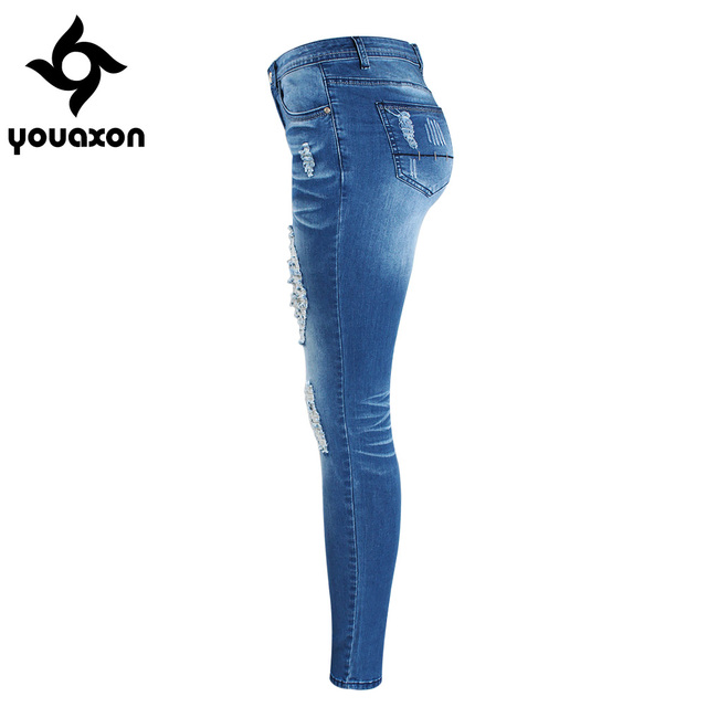 Women`s Chic Distressed Plus Size Brand New Mid Waist Stretch Skinny Pencil Elegant True Denim Jean