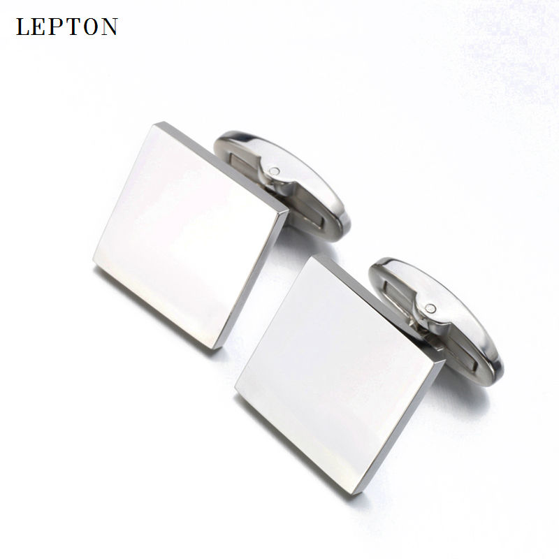 Mens jewelry square blank cufflinks Lepton brand 316L stainless steel high polish cuff links wedding groom