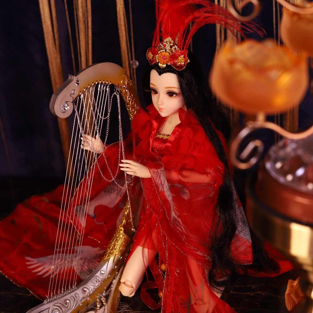 DQ 45cm Diário Rainha bjd 1/4 de roupas bjd cocar aparelhos, articulação corpo pele branca estilo Chinês cabelo preto