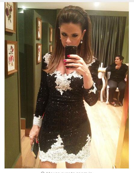 In Fashion Black Sequin Straight   Cocktail     Dresses   2019 V Neck Long Sleeves Appliques Zipper Back Mini Evening Gowns
