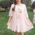 Sweet lolita cintura alta uma linha de impressão dress anjo rendas de algodão mulheres mais soltas mini dress irmã macio bonito summer fashion dress