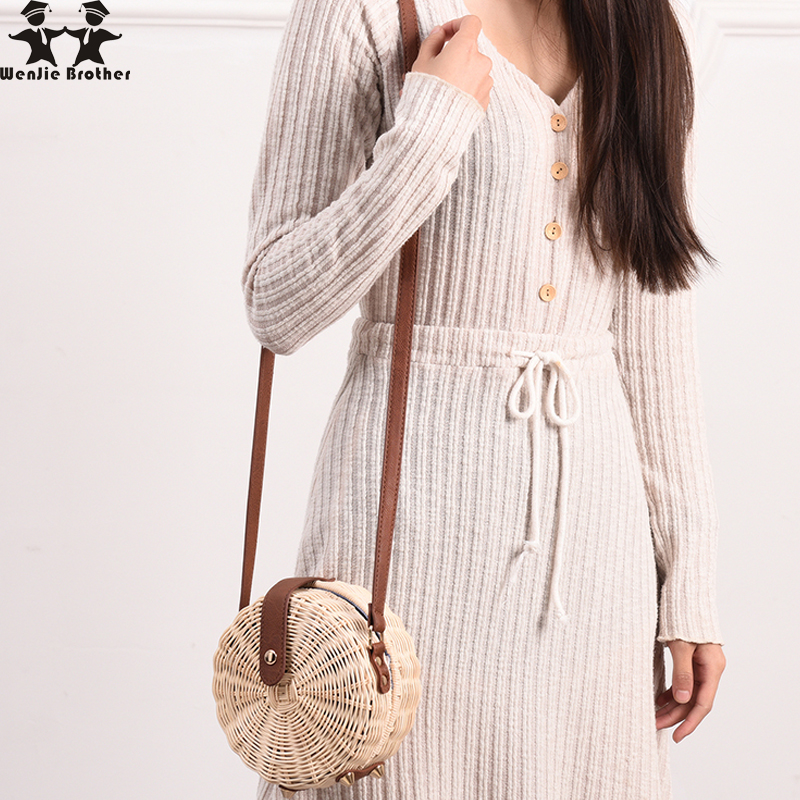 wenjie brother new  Women Straw Bag Rattan Beach Handbag Small Circle Lady Vintage Crossbody Handmade Kintted Shoulder Bags handbag