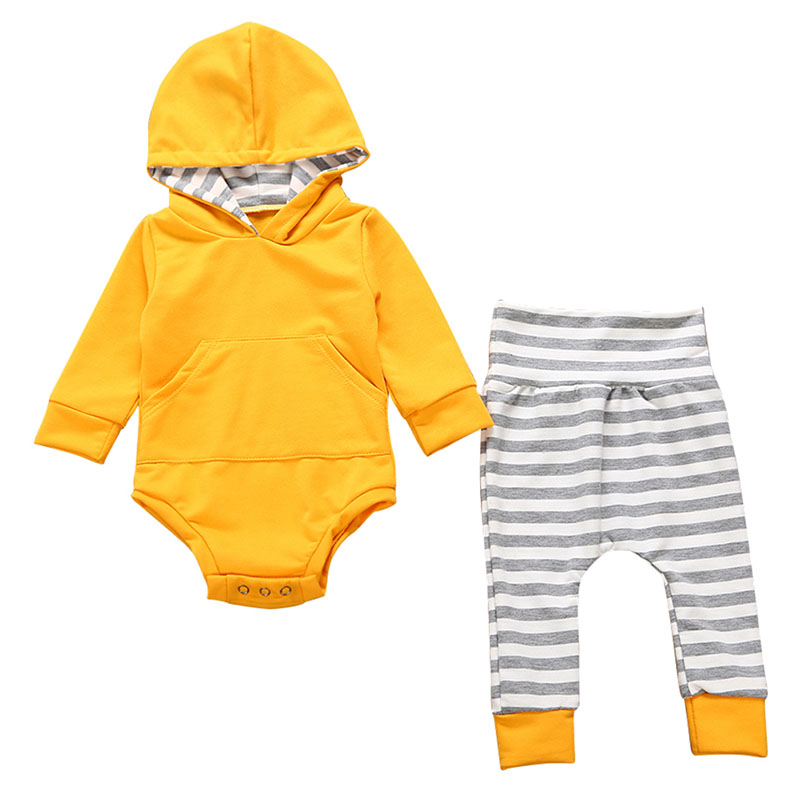 2PCS Newborn Baby Girls Boys Solid Clothing Set Bodysuit One-piece Long Sleeve Hooded Tops + Striped Pants Autumn Cotton Blend