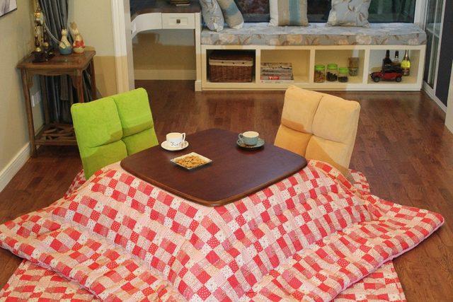 (4pcs/set)Japanese Style Square Kotatsu Set Table Futon Heater Living Room  Furniture Low Heated Wood Table 80cm Walnut Finish