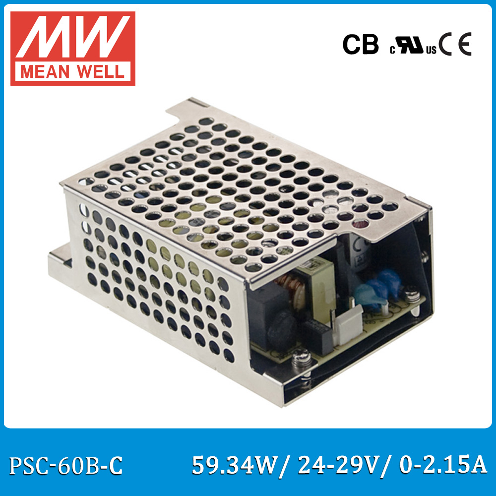 Original Meanwell PSC-60B-C 60W 24~29V 0~2.15A security power supply enclosed type with battery charger(UPS function) PSC-60-C hot sale mean well psc 160a 13 8v meanwell psc 160 160w single output with battery charger ups function pcb type