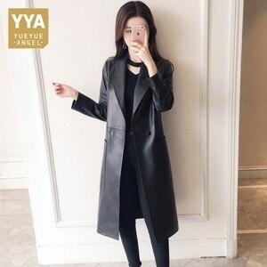 Image 2 - Manteau en cuir véritable femme, printemps automne, veste Long à revers femme, manteau Slim en peau de mouton, 100%