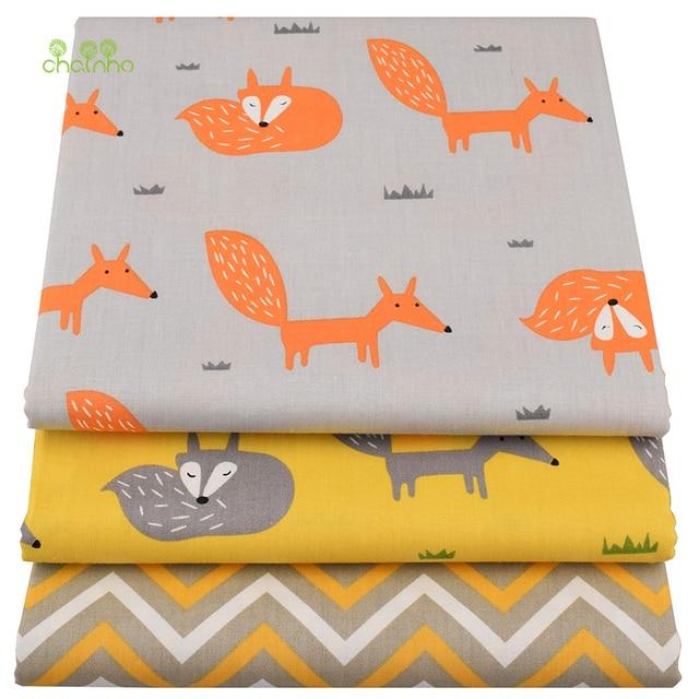 Chainho, Yellow Fox, Cartoon Printed Twill Baumwollgewebe, DIY Quilting Sewing Für Baby & Kinder Blatt, Kissen, Kissen, Spielzeug Material