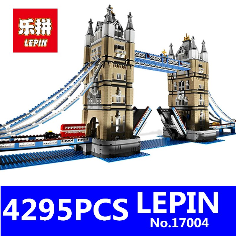 London Bridge Model Building LEPIN 17004 4295Pcs Kits Brick Educational Toys for Children Compatible with 10214 Christimas Gift lepin 22001 pirate ship imperial warships model building block briks toys gift 1717pcs compatible legoed 10210