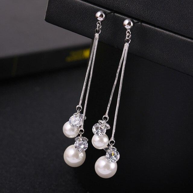 e828afb383e Longue imitation perle clip sur boucles d oreilles avec strass brillant  mode bijoux oreille clip