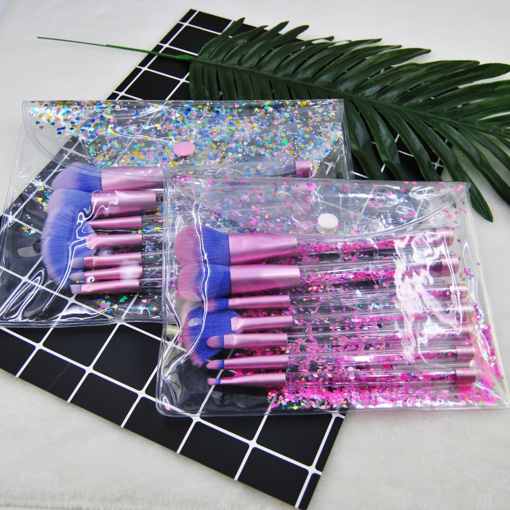 7 Pcs Unicorn Glitter Makeup Brushes Diamond Crystal Brush w/ Bag Powder Foundation Eyebrow Mermaid Make Up pincel Sereia