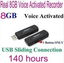 Livraison gratuite 09 8 GB numérique enregistreurs vocaux Disk Digital Audio Enregistreur Vocal One Voice Button Coulissante Connexion