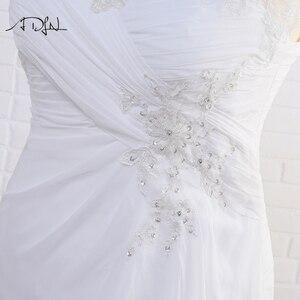 Image 5 - Adln Voorraad Plus Size Trouwjurken Elegante V hals Wit/Ivoor Applique Kralen Chiffon Strand Bruidsjurk Vestidos De Novia