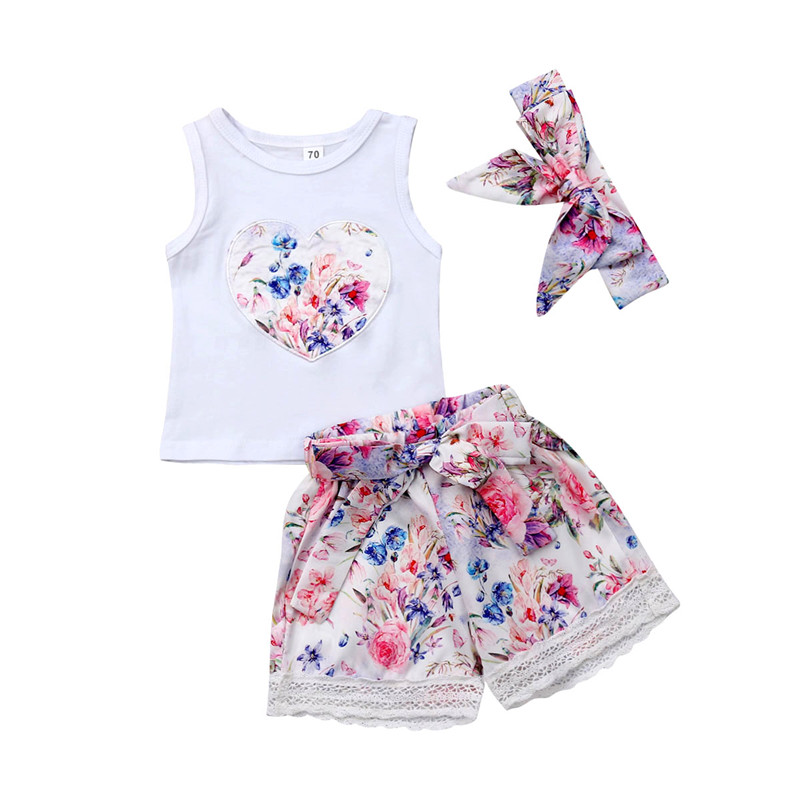 Toddler Infant Girl Outfits Headband+Cotton Sleeveless Tops T-shirt+Floral Shorts Summer Clothes Sunsuit Set 3PCS 0-3Y